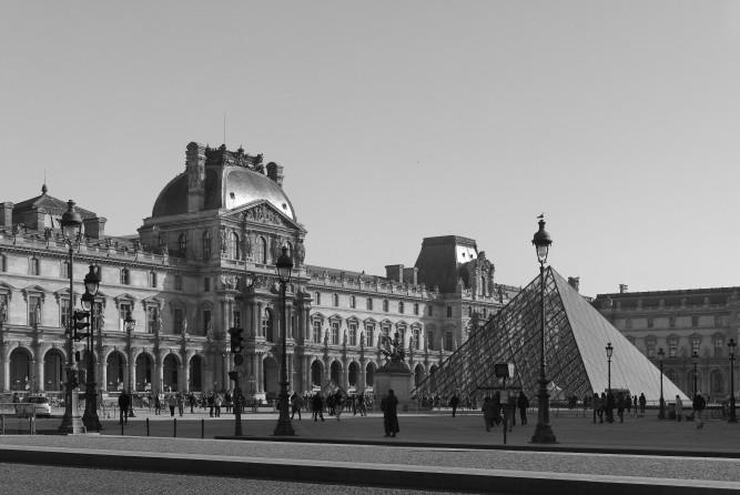 Pyramide du Louvre, Pavillon de l'horlogne, cour Napoléon Le Louvre Paris