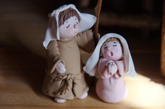 joseph et marie en porcelaine froide