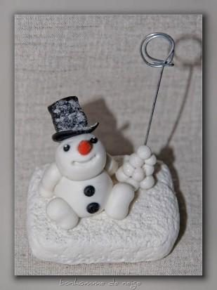 bonhomme de neige porte nom en porcelaine froide