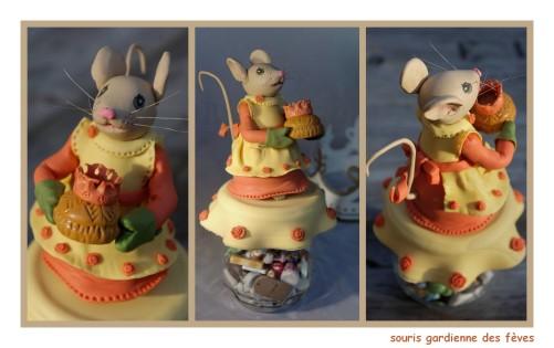 pot décoré souris fèves