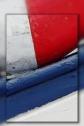 bouée et coque bateau bleu blanc rouge, port du Curnic, Guissény
