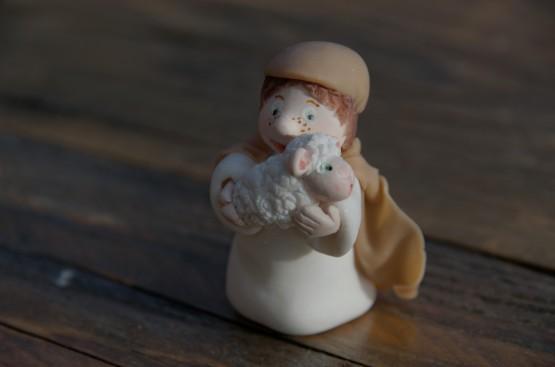 le berger de la crèche de noël en porcelaine froide, PAM,
