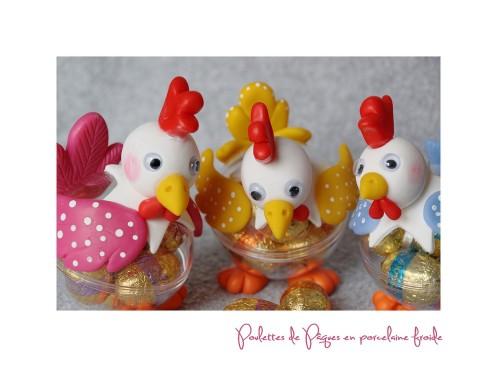 poulettes Pâques en porcelaine froide