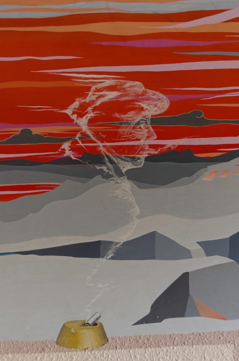 urbex, salle de classe, fresque murale, tête de Jacques Prévert, destruction, lycée Jacques Prévert, Longjumeau,