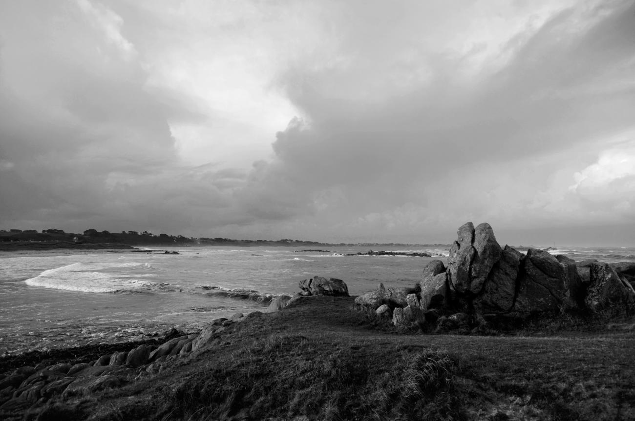 le Vougot, plage du Vougot depuis le Curnic, Guissény, bretagne, finsitère, mer, vagues, rocherss