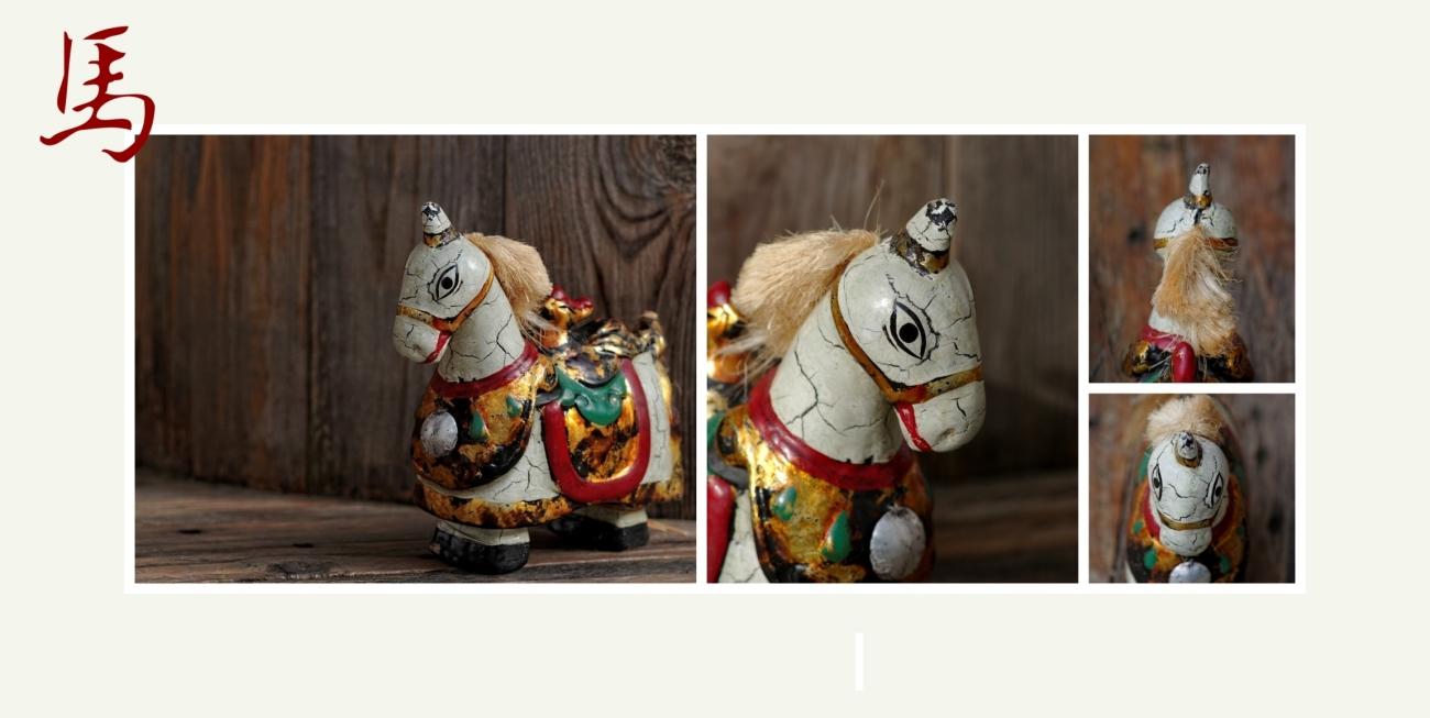 nouvel an chinois, nouvel asiatique, année du cheval, cheval de bois, nature morte,