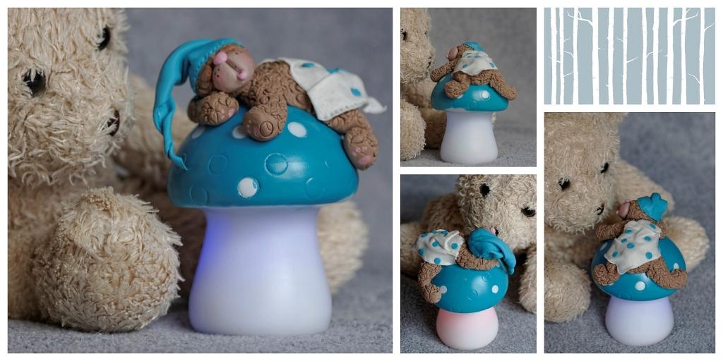 ourson sur veilleuse, ourson en porcelaine froide, ouson endormi sur veilleuse champignon en porcelaine froide, PAM, porcelan fria