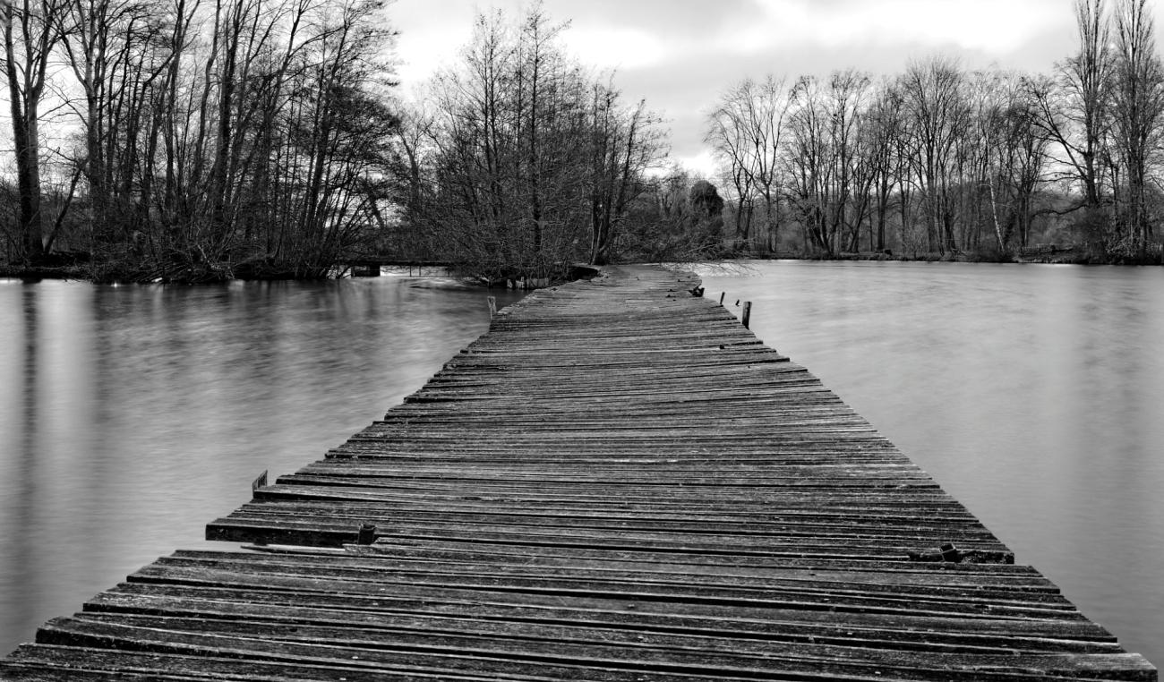 ponton sur l'étang, pose longue, noir et blanc, étangs de Vert-le-Petit,