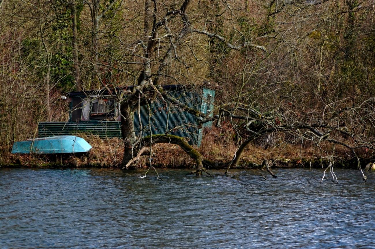 cabane de pêcheur, barque, étangs de Vert-le-Petit, au fil de l'eau,