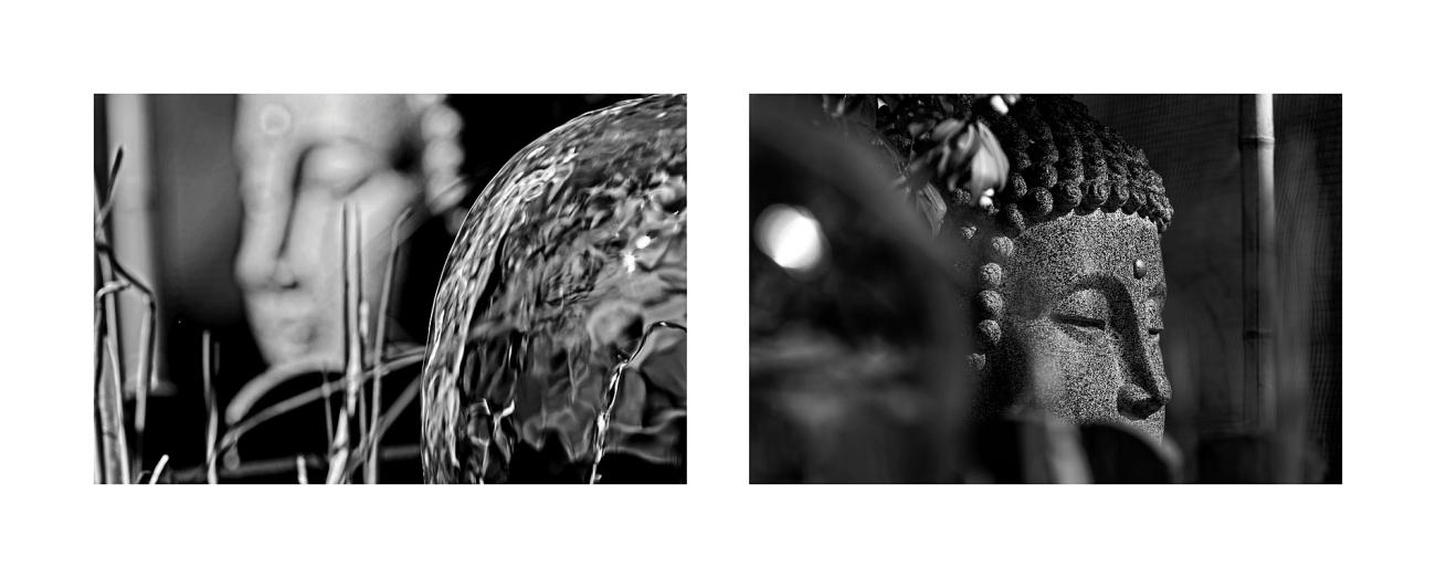 bouddha couler une vie douce, noir et blanc, bouddha, eau, fontaine, jardin,