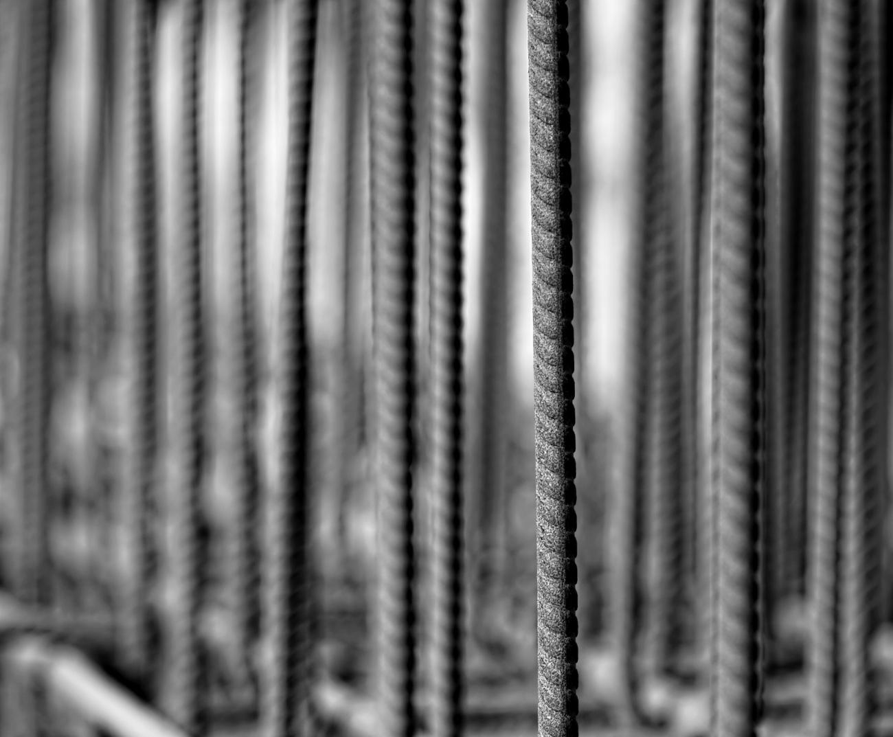 tige de fer, béton, chantier, noir et blanc