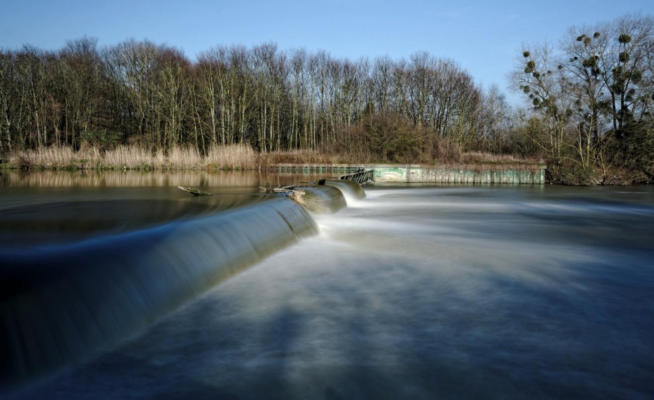 barrage de l'île de la Dérivation, Carrières sous Poissy, pose  longue, la Seine,