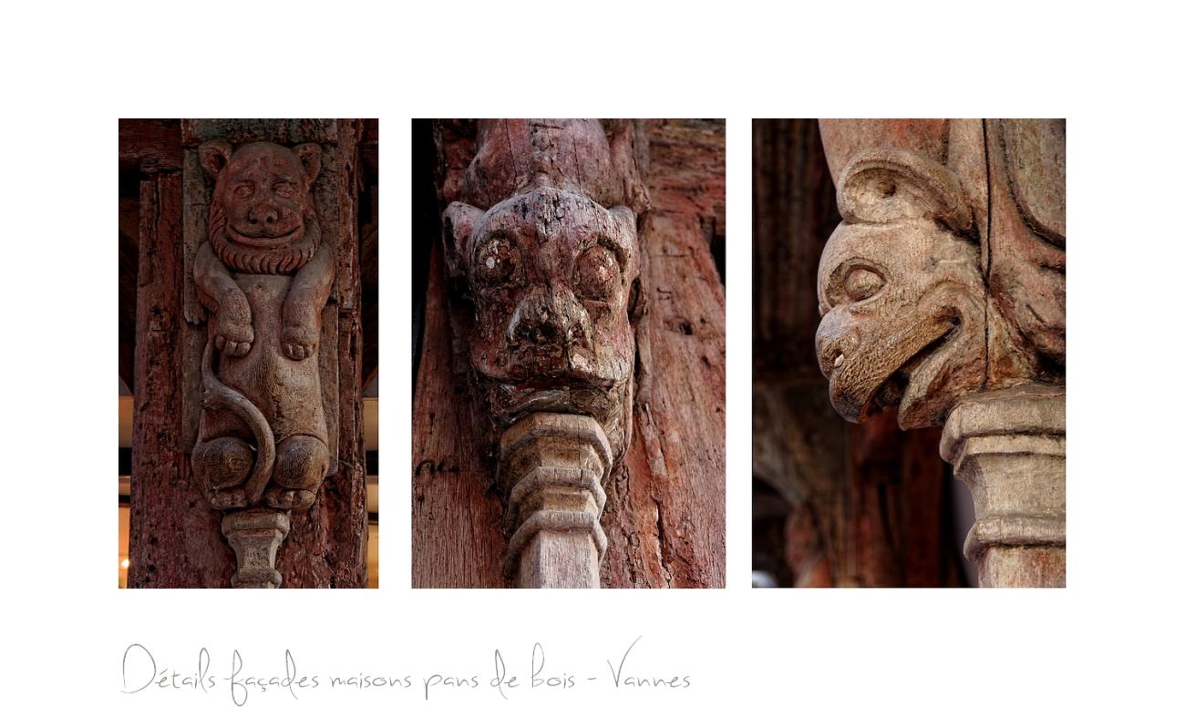 triptyque détails maisons pans de bois Vannes, Vannes, Morbihan,