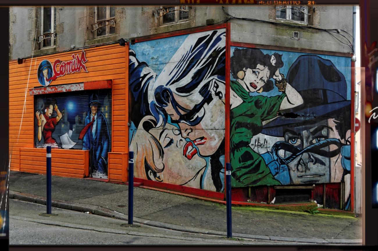 façade bar Comix à Brest, fresque murale, brest, comix, bd underground