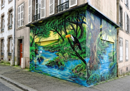 fresque murale à Brest - angles rue Malakoff et Conseil