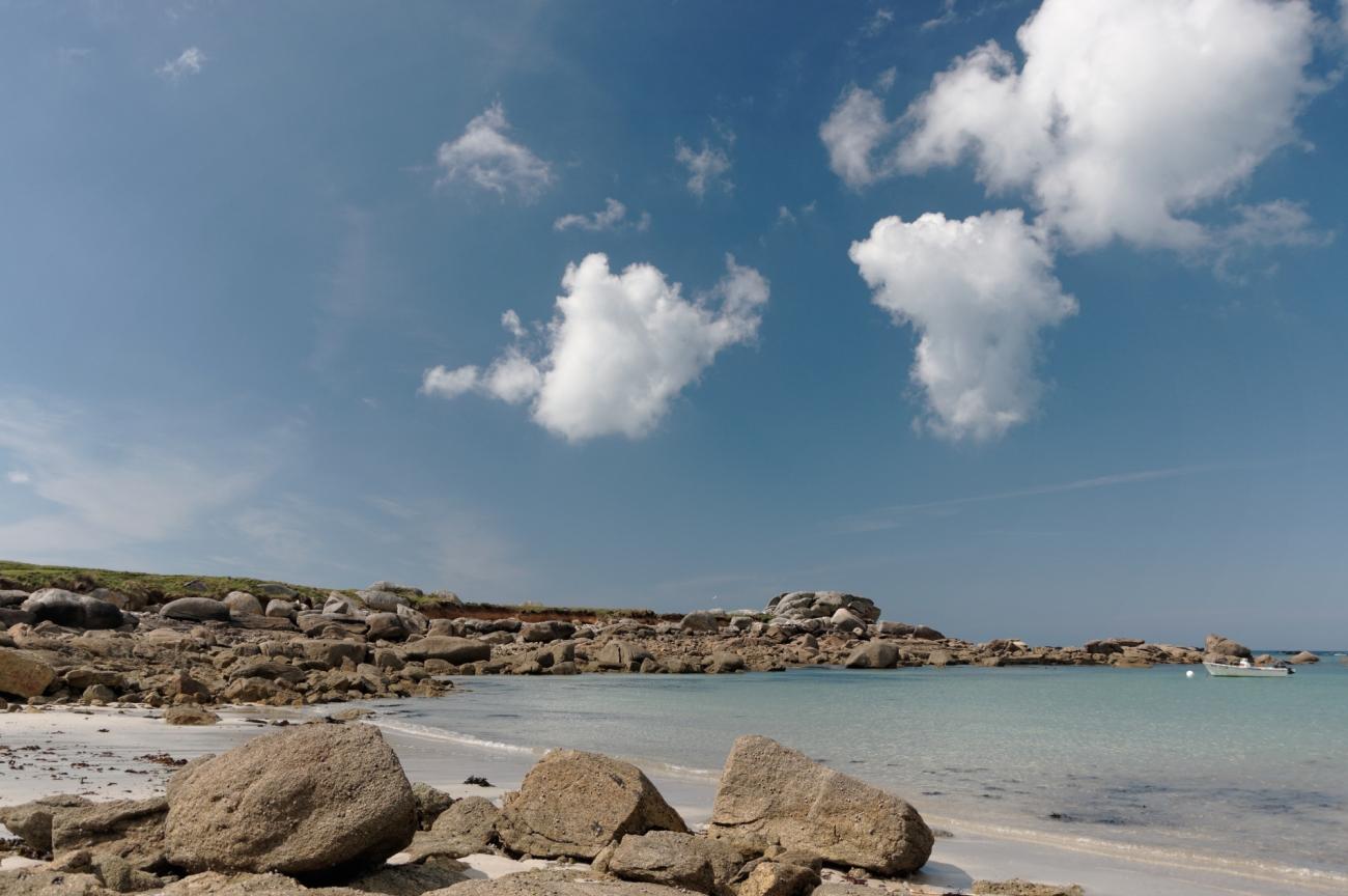 nuages, plage, rochers, Niez Vran, Kerlouan, finistère, bretagne
