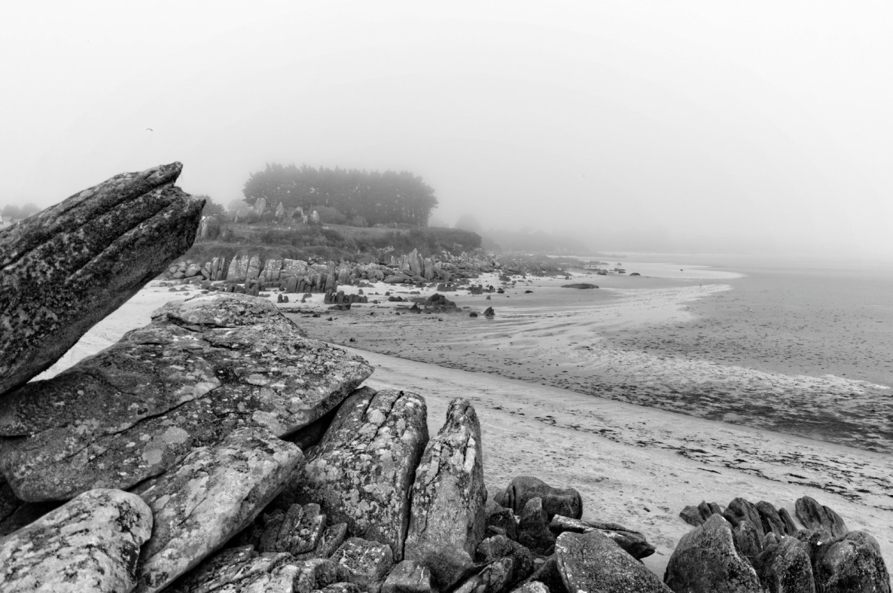 Barrachou,  baie de Guissény, brume, finistère, bretagne