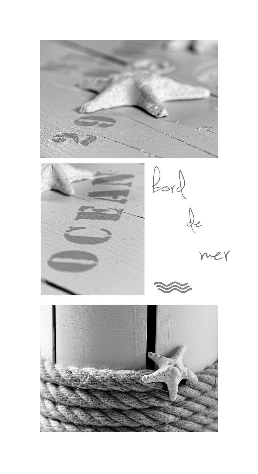 triptyque bdm, déco bord demer,touret décoré, création manuelle, noir & blanc, nature morte