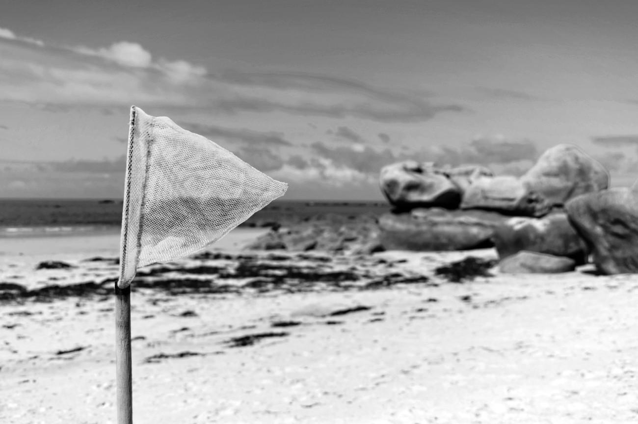épuisette, net-flou plage de Kerlouan