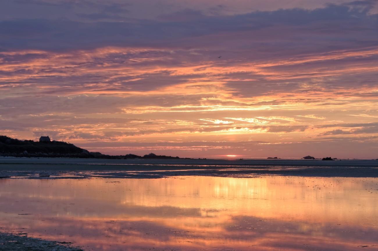coucher de soleil en baie de Guissény, coucher de soleil, Guissény,finistère, bretagne