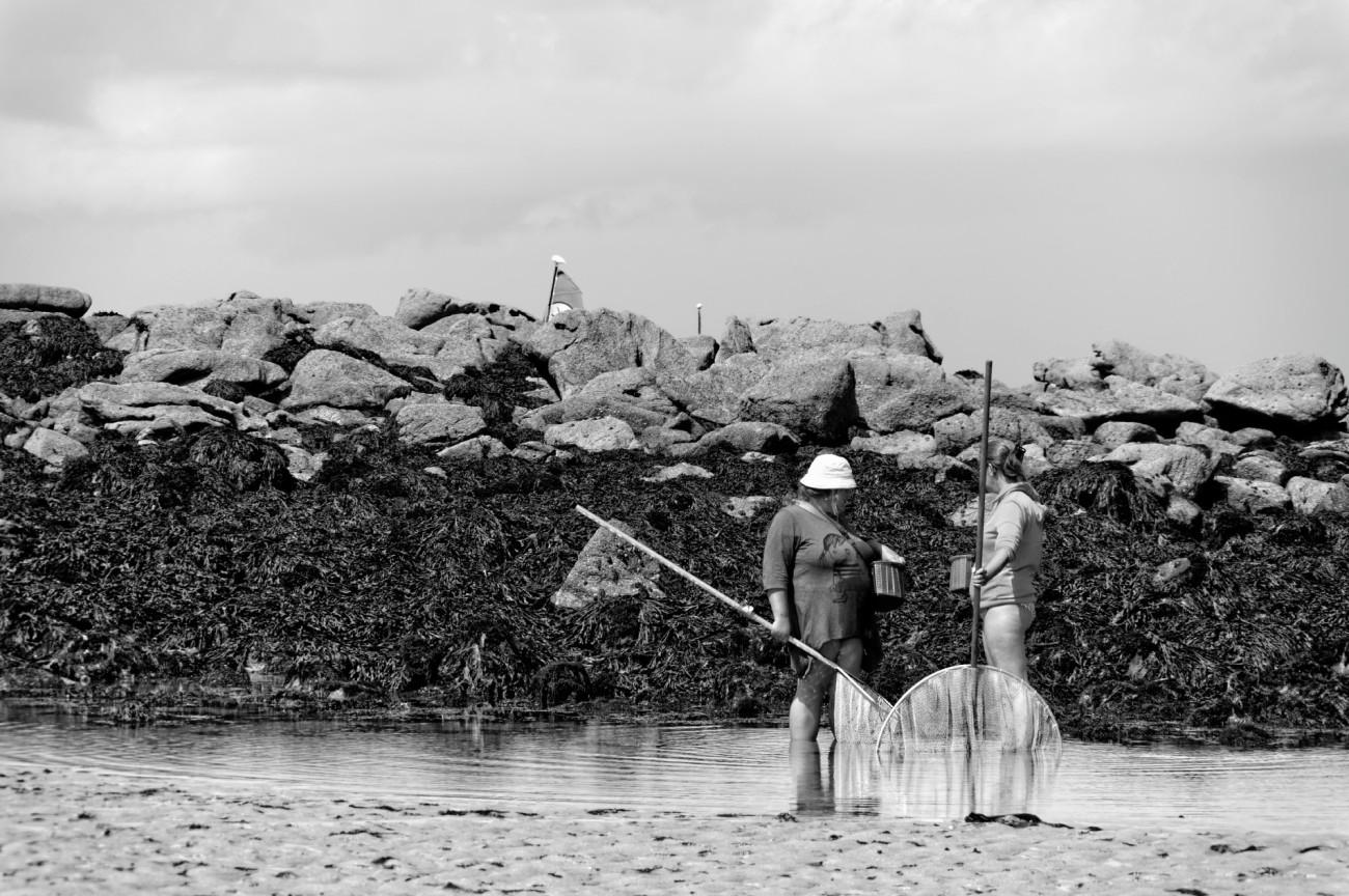 pêche à pieds, Portsall,  La Cave, Noir et Blanc