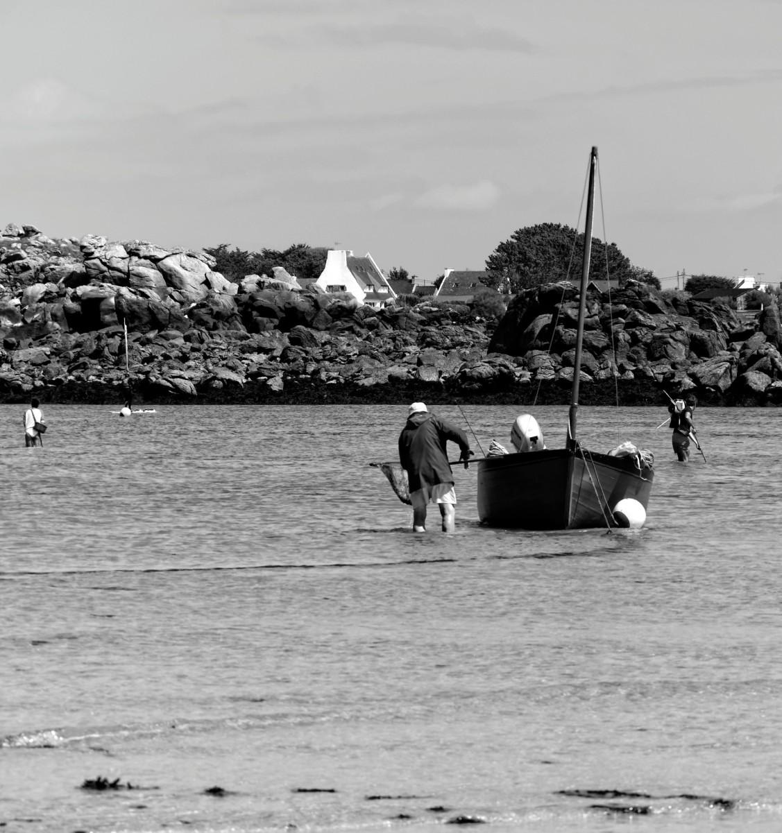 pêche à pieds, Portsall,  La Cave, Noir et Blanc, bateau