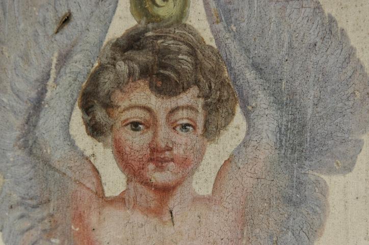 détail fresque salon des anges, château Popkov, urbex,
