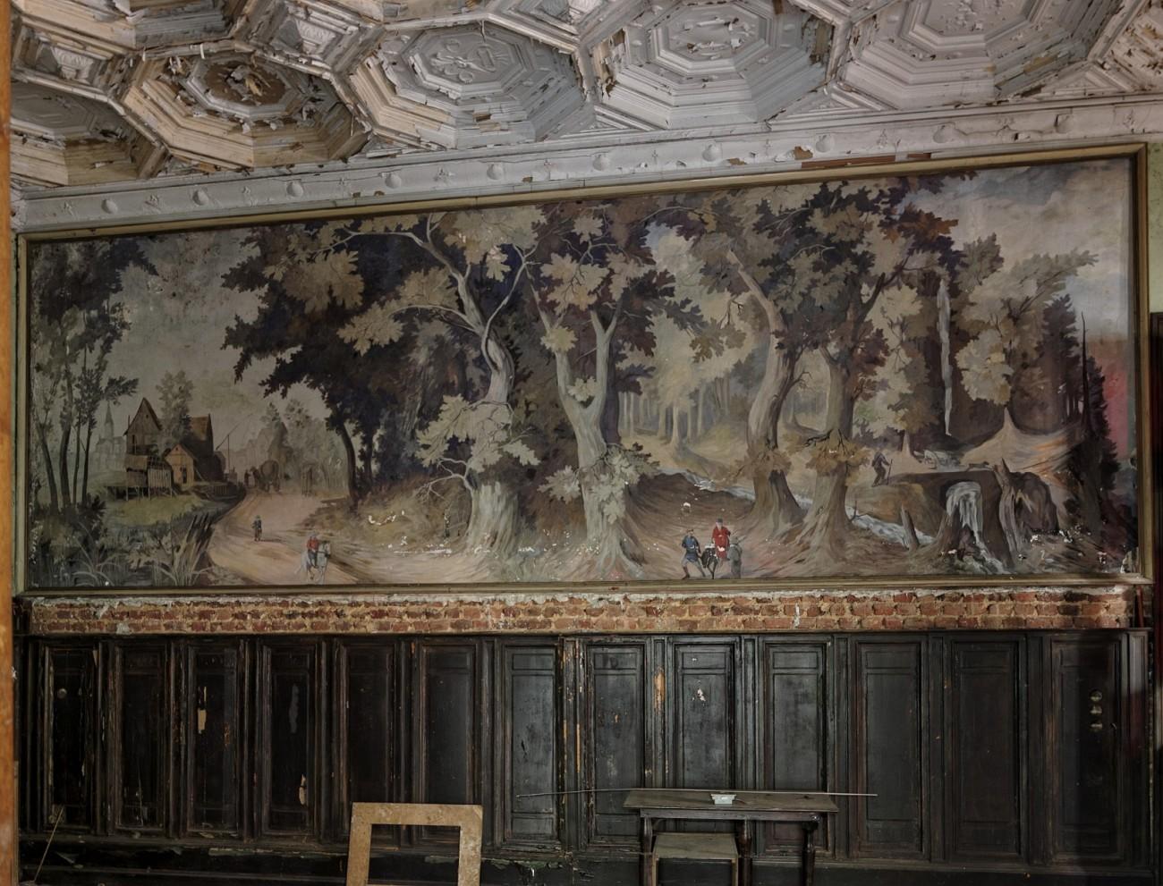 tapisserie de la salle à manger château Rouge, château Bambi, urbex, exploration urbaine