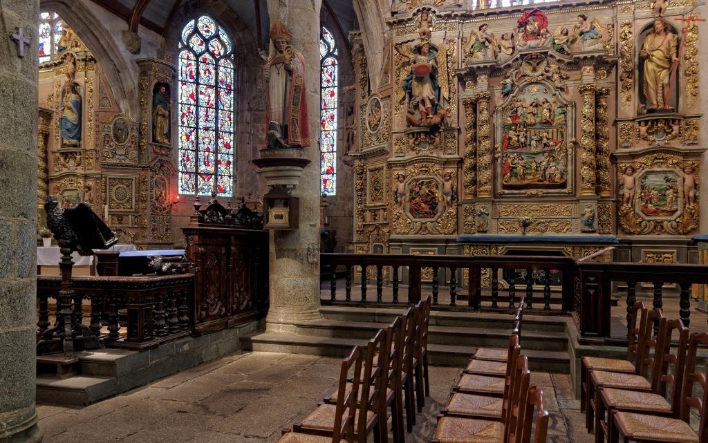 Le retable de Saint-Jean-Baptiste église Notre Dame à Lampaul Guimiliau