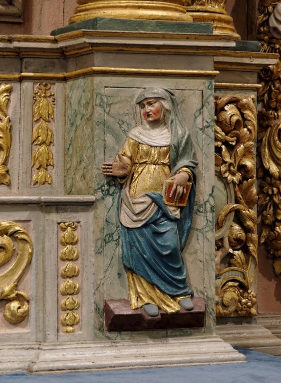 détail retable église Notre Dame Lampaul Guimiliau