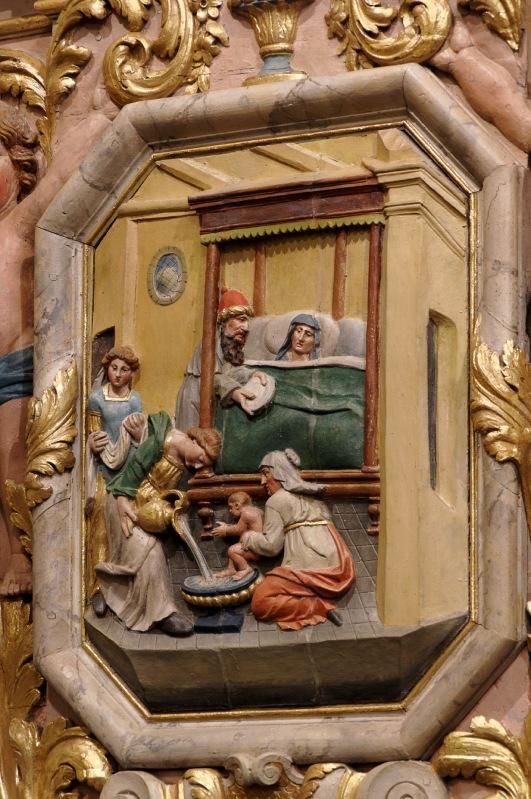 Panneau gauche du retable de la Passion : Nativité de la Vierge Marie église Notre Dame Lampaul Guimiliau