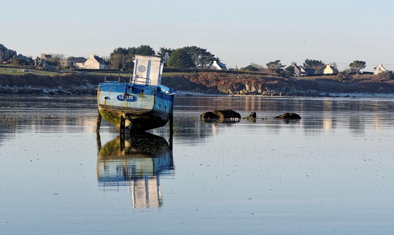 Le Lys, bateau, baie de Guissény, Guissény, reflets, bretagne,finistère