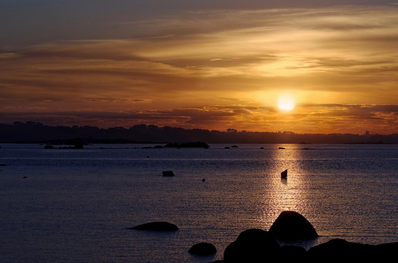 coucher de soleil Niez Vran, Ile aux Vaches, bretagne, finistère, Guissény