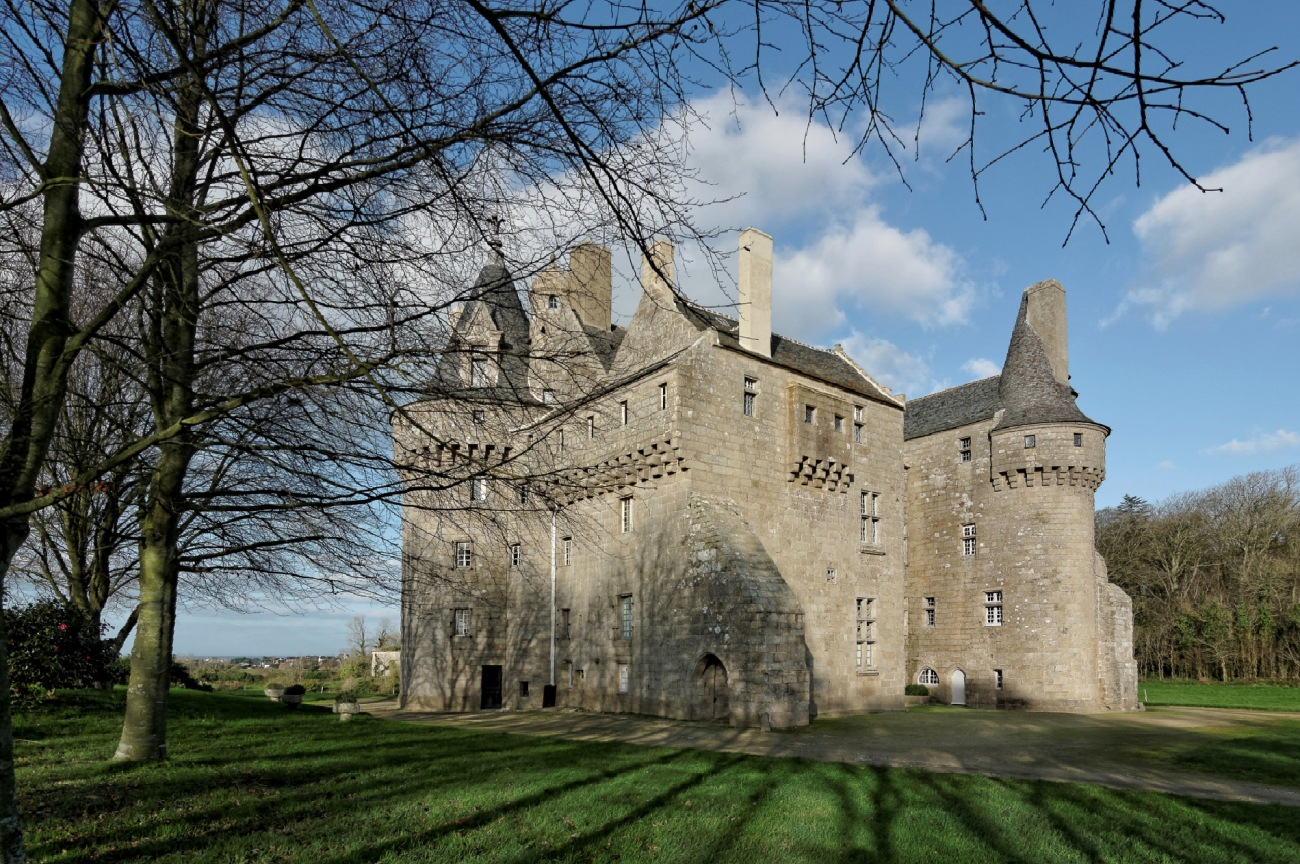 château de Kérouzéré, Sibiril, Finistère, Bretagne, façades ouest et sud-ouest