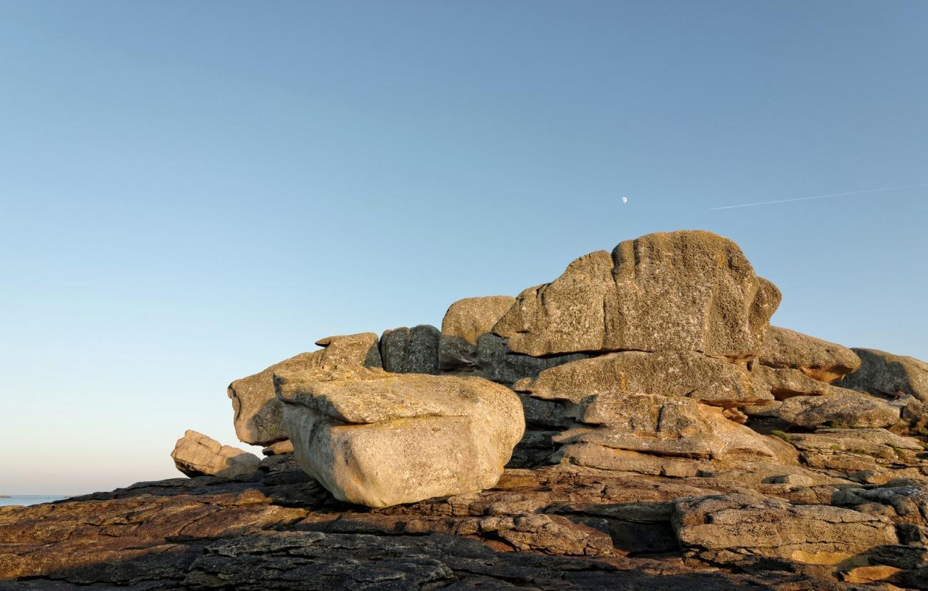 rochers, lumière d'hiver, pays pagan, finistère, île aux vaches, bretagne