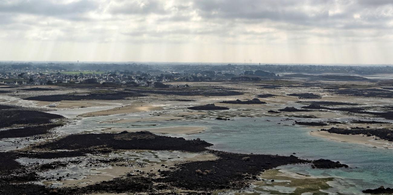 vue depuis le haut du phare de l'île Vierge grande marée coefficient 119