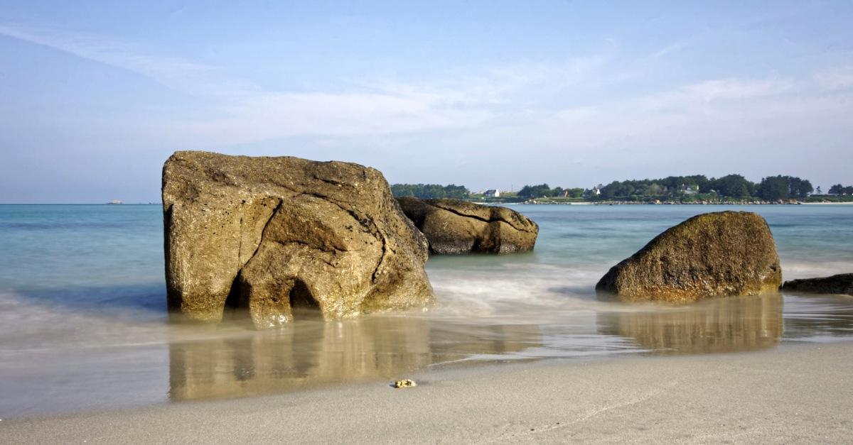 plage de Nodeven, rochers, pose longue, Guissény,