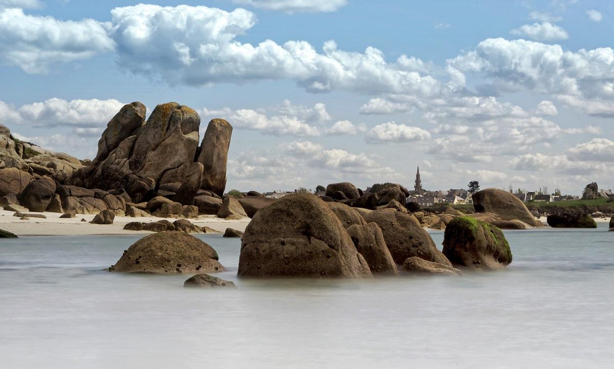 pose longue 4 secondes, baie de Guissény, plage de Poul-Feunteun, Guissény, bretagne, finistère