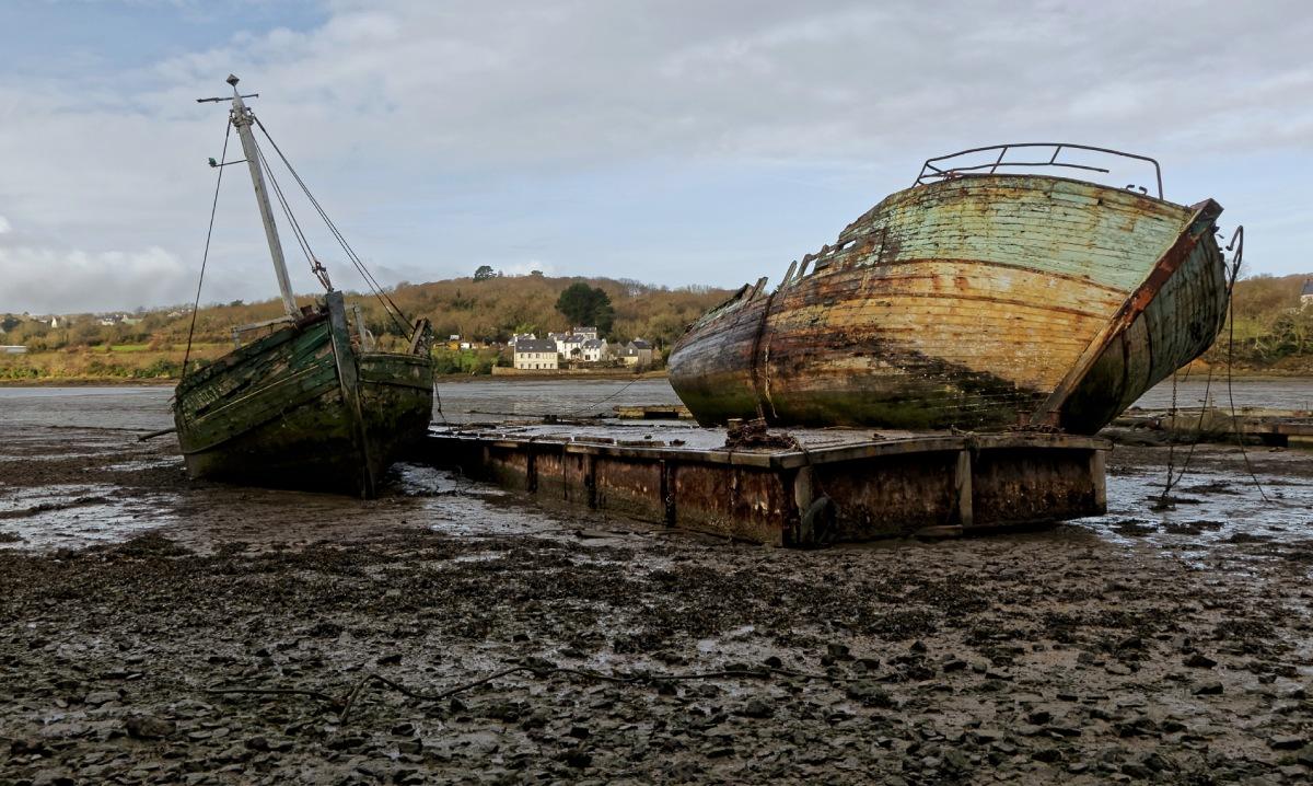 épaves bateaux, vieilles coques, cimetière de bateaux, L'Auberlac'h, finistère, bretagne