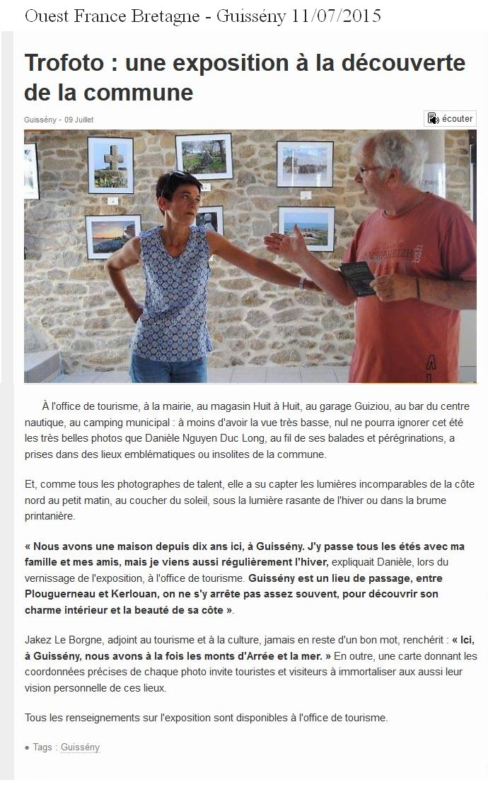 article presse Ouest France Trofoto