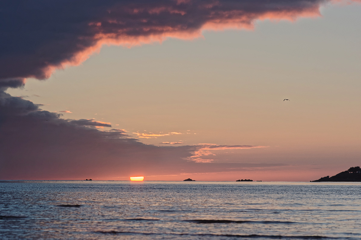 coucher de soleil, baie de Guissény, Guissény, finistère, bretagne