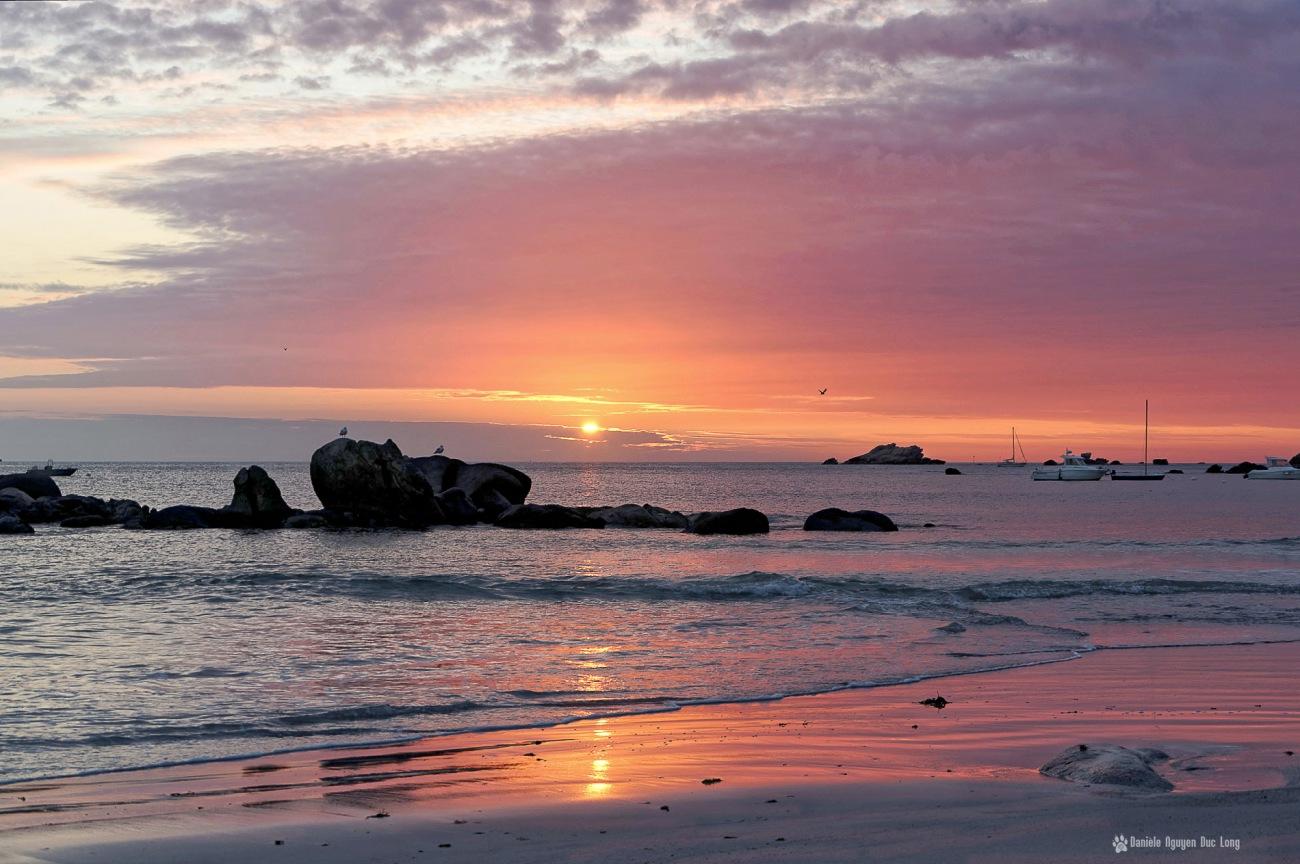coucher de soleil plage de Niez Vran blog