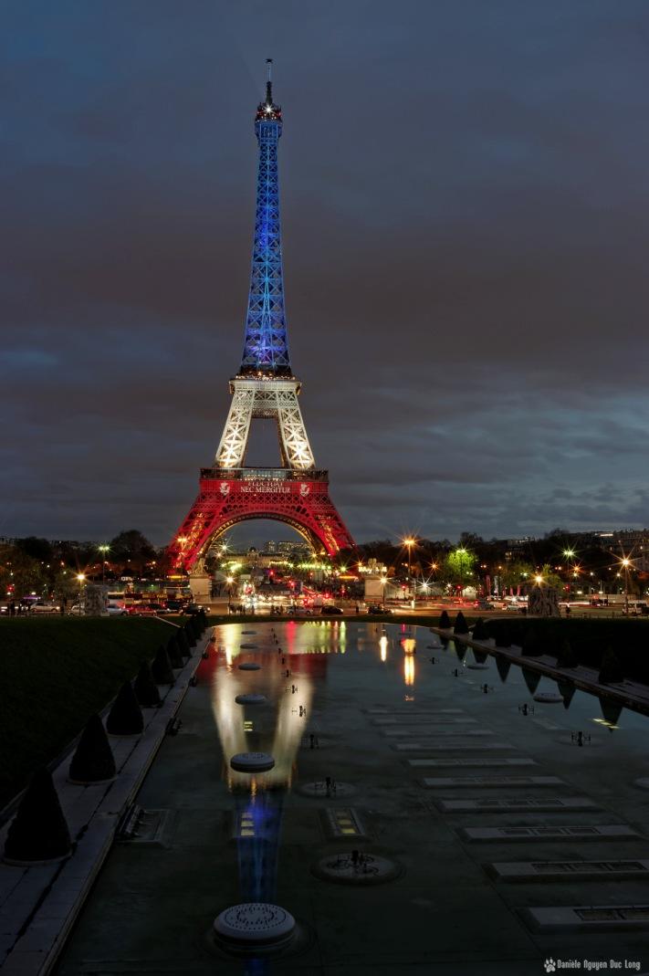fin d'après midi tour Eiffel s'illumine progessivement bleu blan rouge