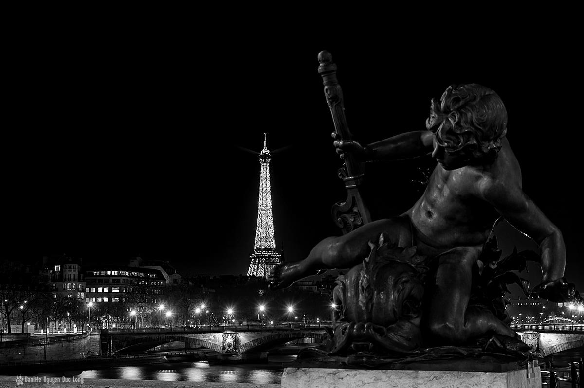 Paris, Paris la nuit, Pont Alexandre III, Tour Eiffel