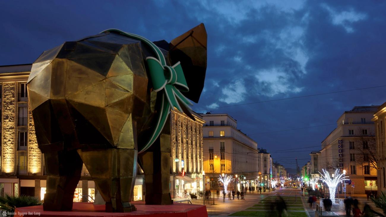 éléphant marché de noël Brest 2015