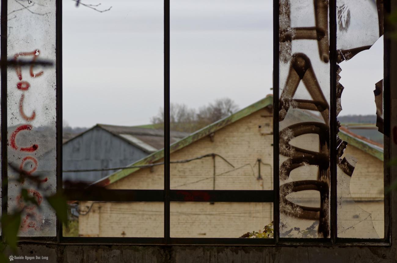 usine du souvenir jeux d'écriture, vitre sur cour,exploration urbaine, friche industrielle, urbex