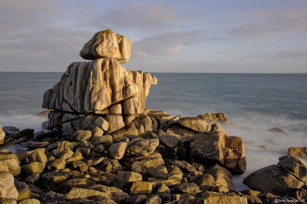 soleil d'or sur les rochers aux Amiets