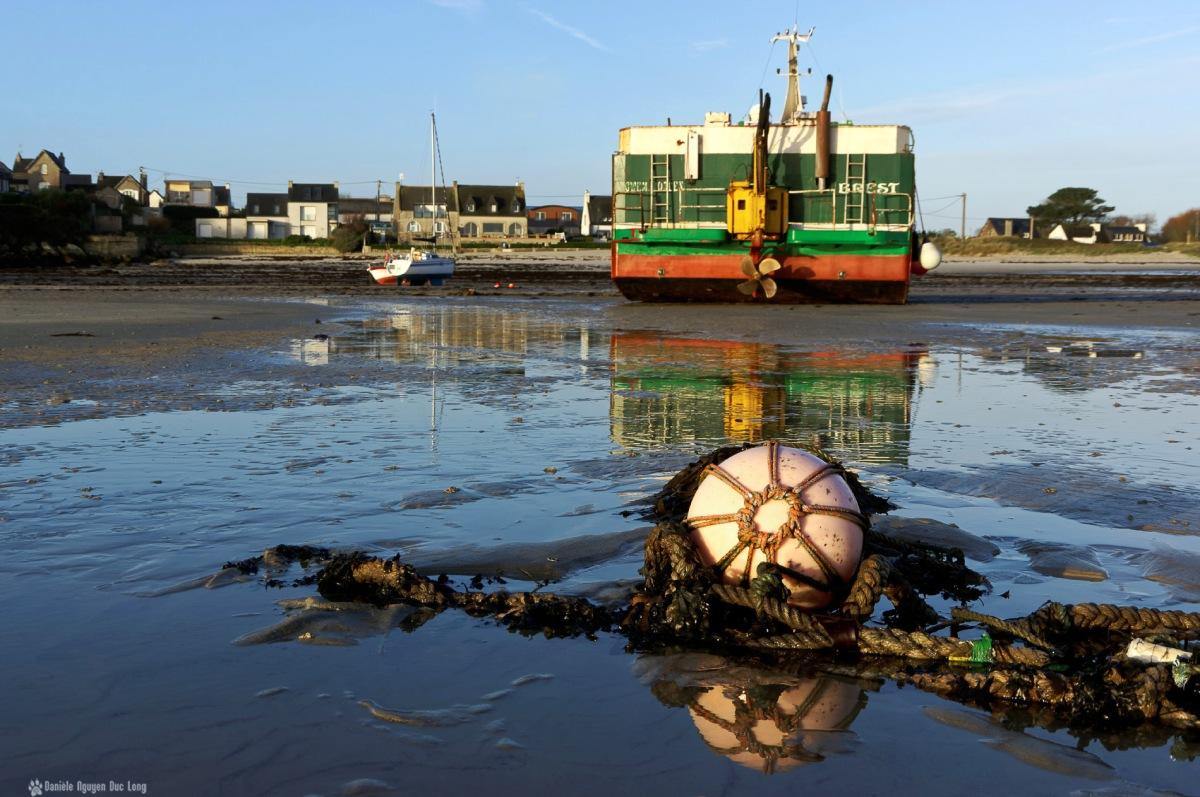 korejou matin lumière d'or bouée filet, bouée d'amarrage, port de Korejou, Plouguerneau, Bretagne, Finistère