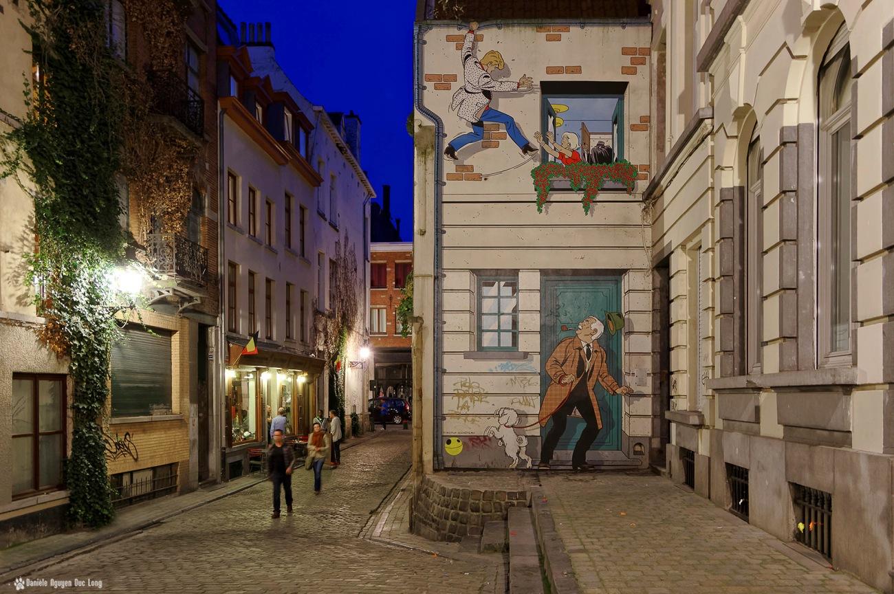 dans les rues de Bruxelles, Belgique, Bruxelles, fresque BD