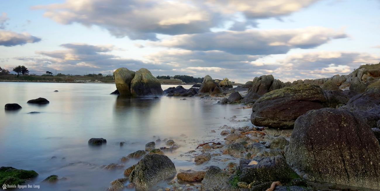 marée descendante en baie de Guissény pose longue vacances d'hiver, baie de Guisény, Guissény, bretagne, finistère